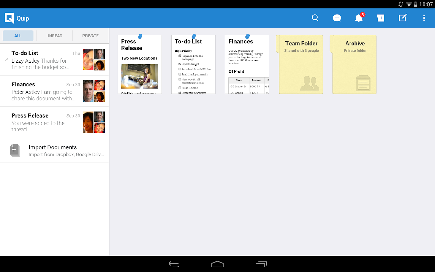 Quip: Docs, Chat, Spreadsheets - screenshot