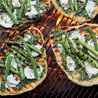 Grilled Asparagus-and-Ricotta Pizzettes