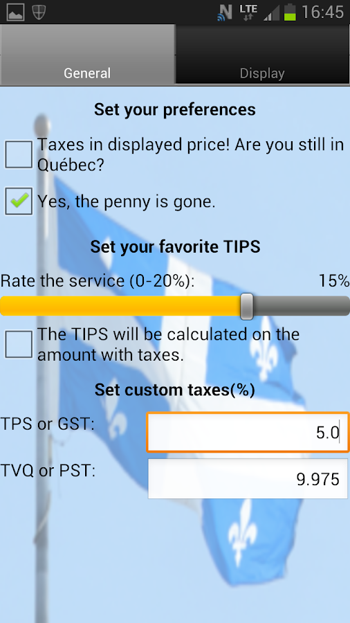 Tips, Taxes and Share - screenshot