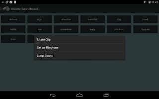 Screenshot of Whistle Soundboard