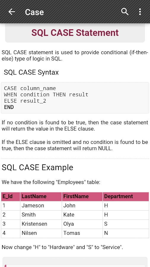 SQL Reference - screenshot
