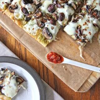 Garlic Scape Pesto and Mushroom Pizza