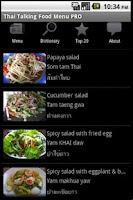Screenshot of Thai Talking Food Menu Pro