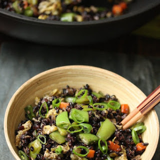 Black Fried Rice with Snap Peas and Scallions
