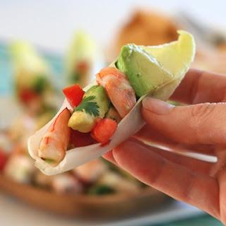 Shrimp and Avocado Ceviche in Endive.