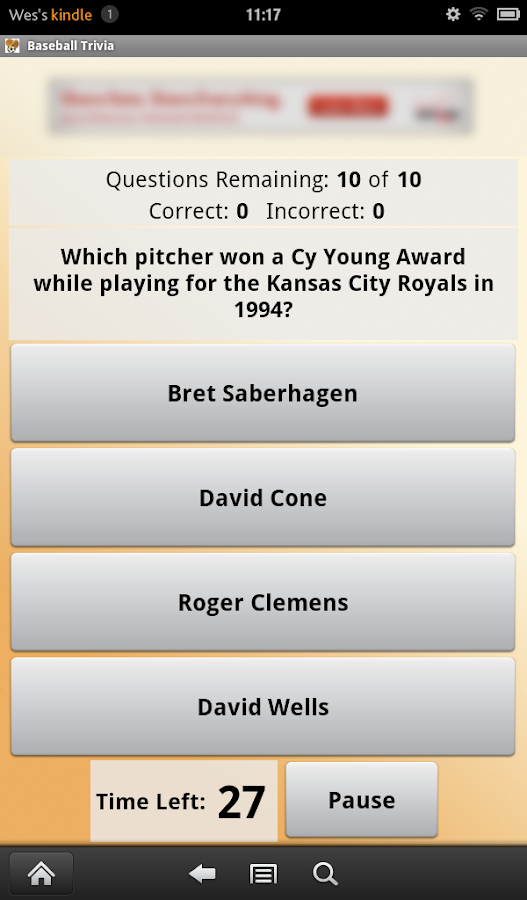 Baseball Trivia- screenshot