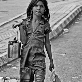 Young Street Peddler by John Hoey - Black & White Street & Candid ( canon, john hoey, b&w, aj photographic art, black & white, street, travel, young, digital, 5d mark iii, dslr, girl, female, peddler, nik,  )