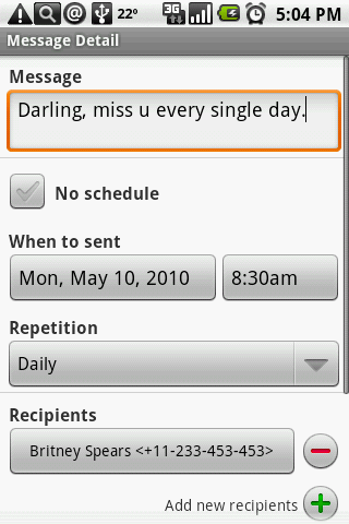 Group SMS Scheduler - screenshot