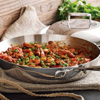 Piquillo Pepper-Braised Chicken with Cannellini Beans and Peas
