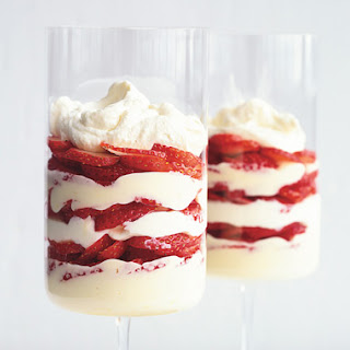 Lemon and White Chocolate Mousse Parfaits with Strawberries.