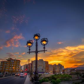 Street lamp and sunset by Morten Golimo - City,  Street & Park  Skylines ( sky, villajoyosa, sunset, street, light, spain )