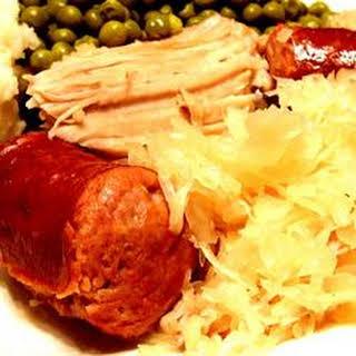 Pork Roast with Sauerkraut and Kielbasa.