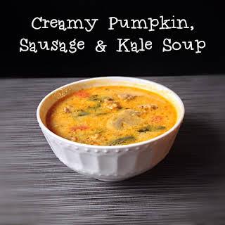 Creamy Pumpkin, Sausage and Kale Soup.