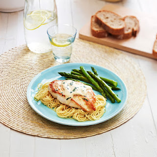 Dressed Chicken with Angel Hair Pasta.