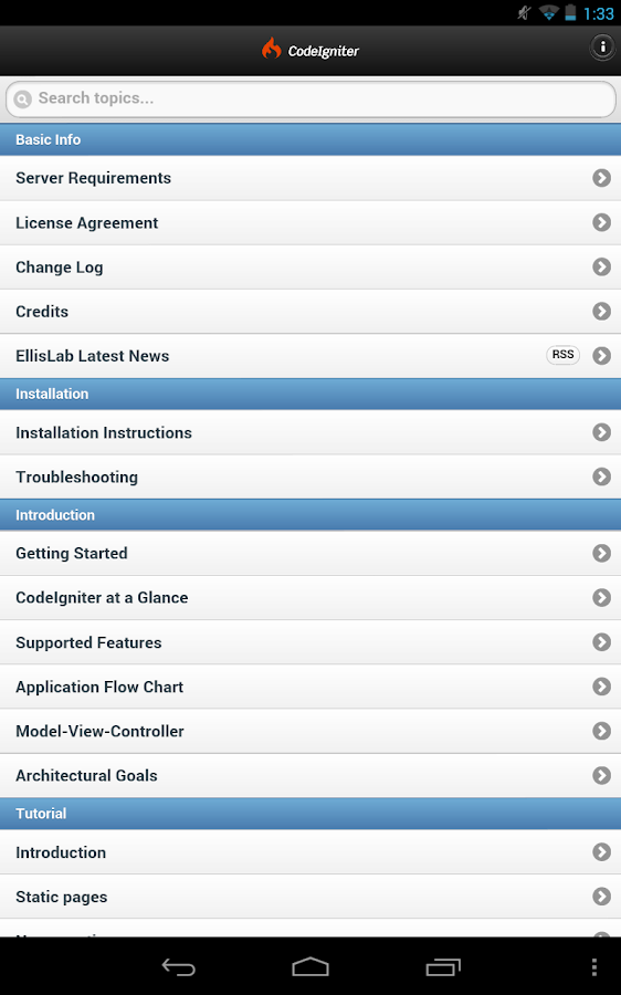 CodeIgniter Mobile User Guide- screenshot
