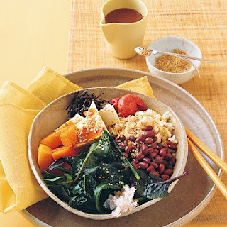 Vegetable-Rice Bowl with Miso Dressing.