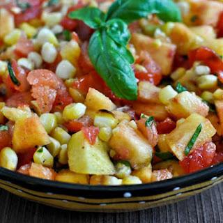 Grilled Corn, Peach and Basil Salsa.