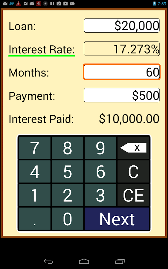 Loan Calculator - screenshot