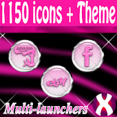 Pink Zebra Chrome Icons Pack