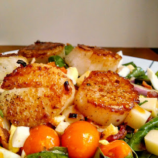 Blistered Tomato Salad with Pan Seared Scallops