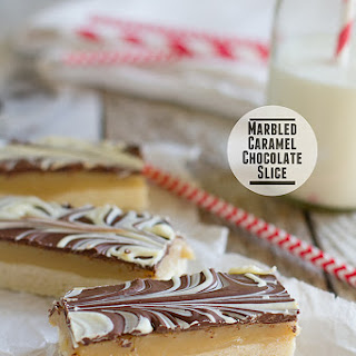 Marbled Caramel Chocolate Slice.
