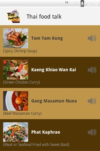 Thai Food Menu Talk