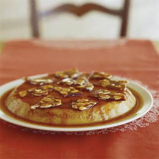Date Flan with Almond Brittle.