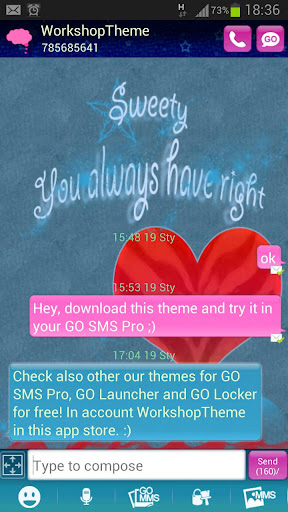 GO短信主題紅心 GO SMS Theme Red Hear
