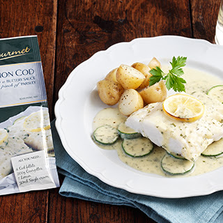 Lemon Cod in a buttery sauce with a pinch of parsley