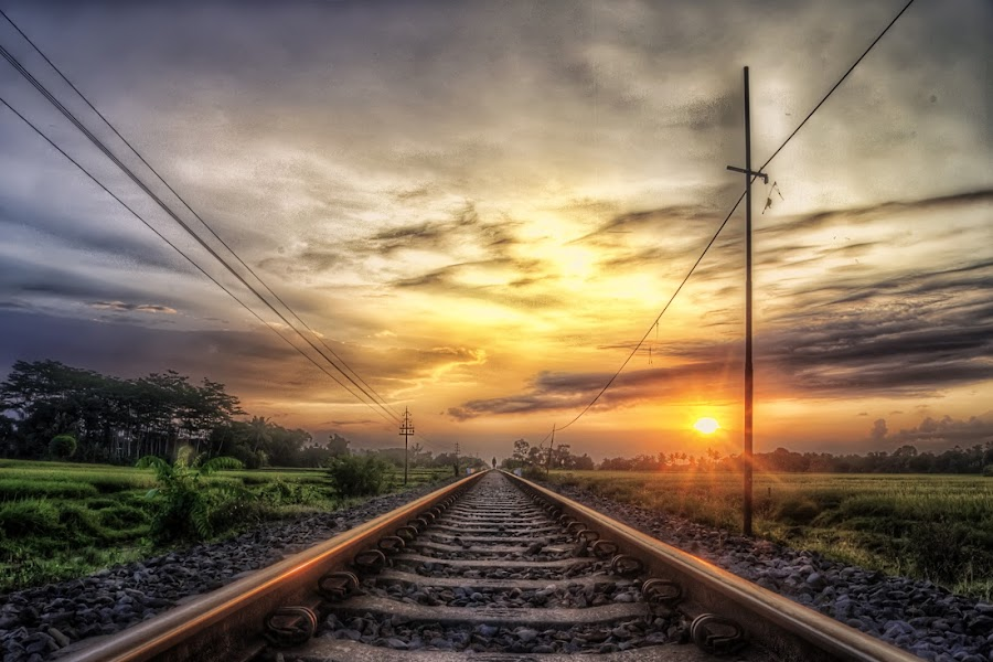 Sunset in Railway Track by Randi Pratama M - Transportation Railway Tracks ( center, railroad tracks, vertical lines, pwc, railway, sunset, railroad, indonesia, rail,  )
