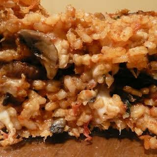 Torta di risotto with char-grilled Portobello mushrooms and three cheeses.