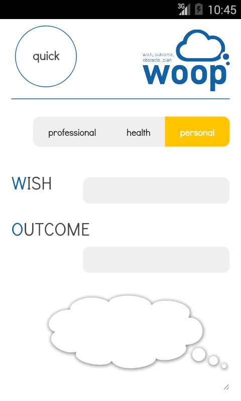 WOOP app – kuvakaappaus