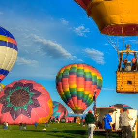 Balloons Away by Richard Saxon - Transportation Other ( may, balloon festival, 2012, erie ballon festival, hot air balloons, balloon )