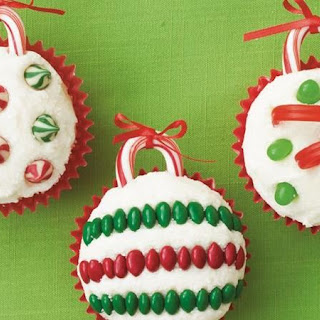 Holiday Ornament Cupcakes.