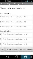 Screenshot of Coordinate triangle solver