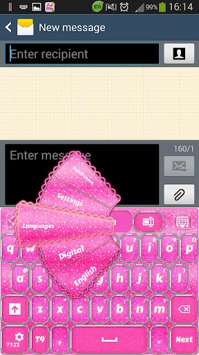 ピンクグリッターキーボード