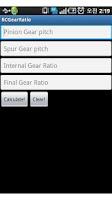 Screenshot of RC Gear Ratio Calculator
