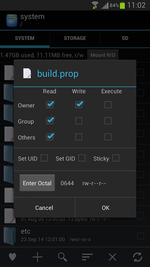 Root Explorer – zrzut ekranu