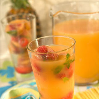 Tropical Punch With Fruity Tea Ice Cubes.