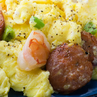 Andouille Sausage and Shrimp Scramble