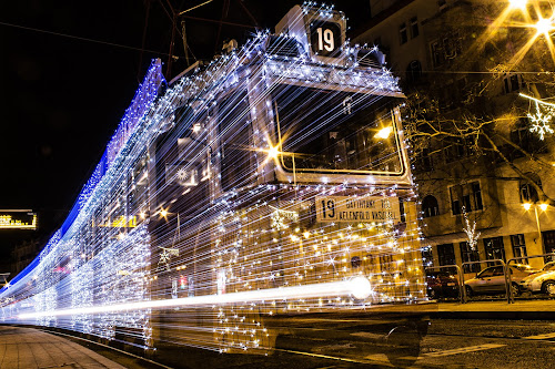 Christmas Light Tram by István Decsi - Public Holidays Christmas ( hungary, budapest, christmas, tram, light_tram, , city at night, street at night, park at night, nightlife, night life, nighttime in the city )