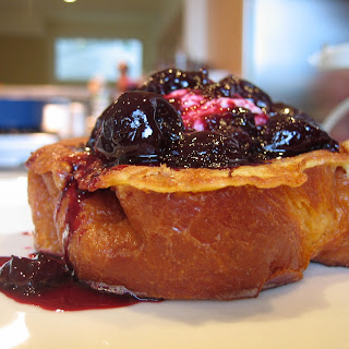 Brioche French Toast w/ Cream Cheese and (Sour) Cherry Compote.