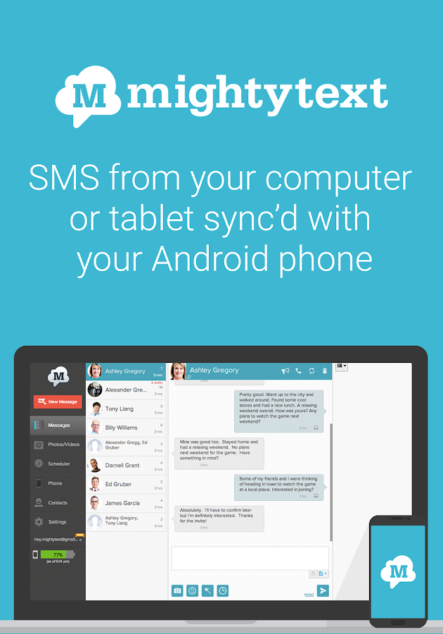 SMS from PC / Tablet & MMS Text Messaging Sync- screenshot