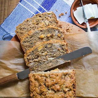 Tropical Banana Bread with Macadamia Nuts, Pineapple, and Coconut.