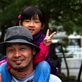 Father daughter by Lenny Sharp - People Street & Candids ( japan, peace, daughter, yokohama, hat )