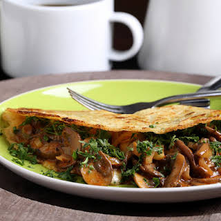 Coconut-Chickpea Crepes with Smoky Herbed Mushrooms.