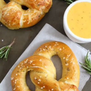 Rosemary Sea Salt Pretzels with Rosemary Cheddar Cheese Sauce.