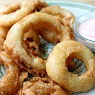 National Onion Rings Day | Pancake Batter Onion Rings with Burger King Sauce.