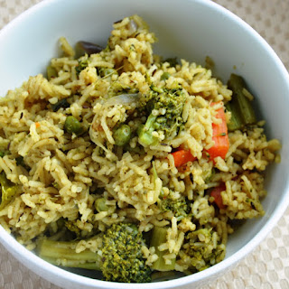 Pudhina Dhaniya Pulao (A Mixed Vegetable Pilaf flavored with fresh Mint & Cilantro)
