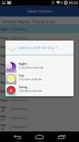 Screenshot of Shift Work Scheduling Calendar